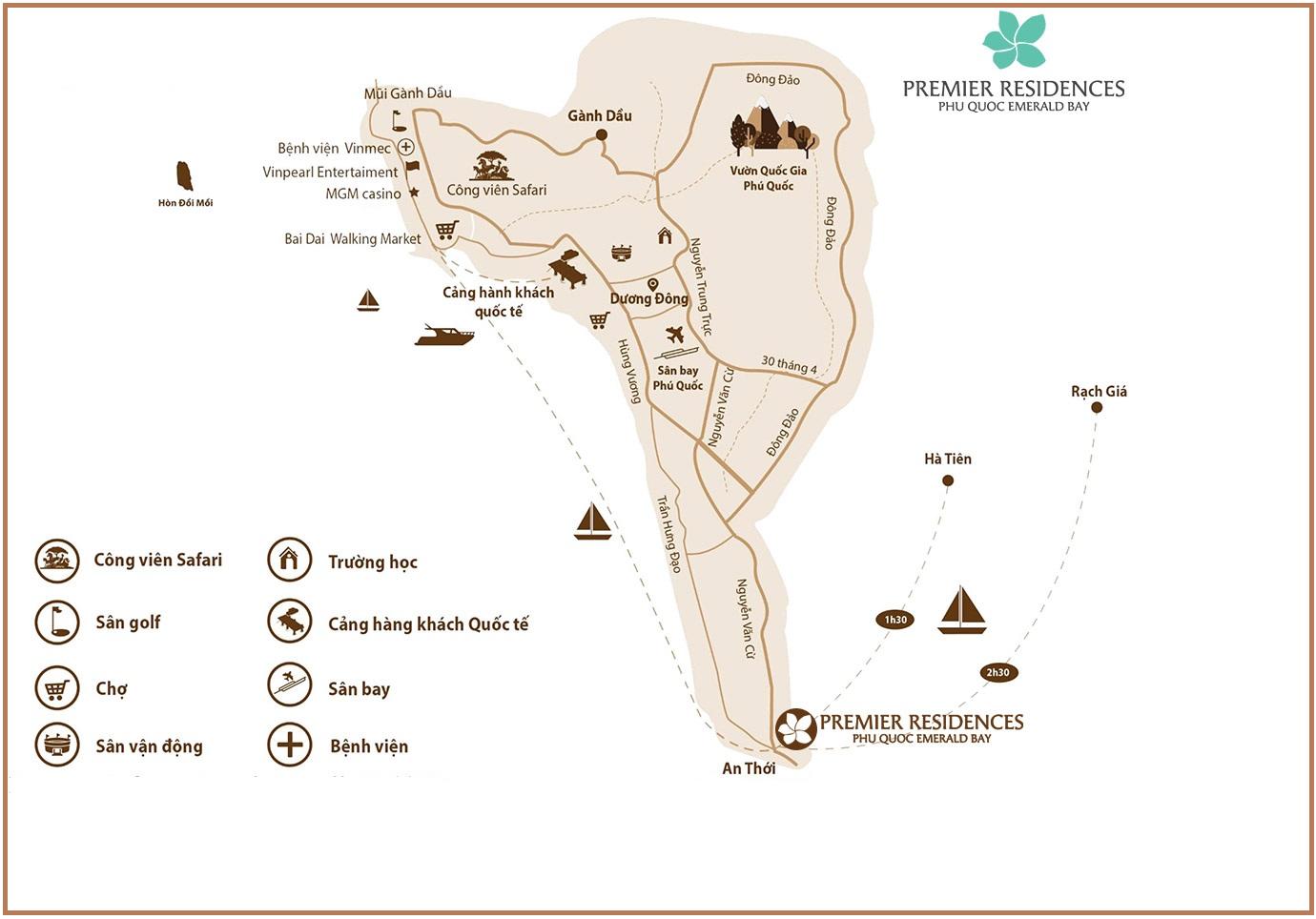 Vị trí dự án Premier Residences Phú Quốc Emerald Bay